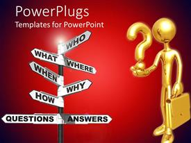 PowerPlugs: PowerPoint template with a businessman with a question mark and a lot of signs