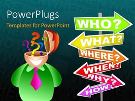 PowerPlugs: PowerPoint template with businessman with questions on his mind and different questions sign post and black color