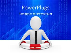 PowerPlugs: PowerPoint template with businessman safe in lifesaver with charts and numbers in background