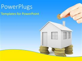 PowerPlugs: PowerPoint template with hand holds coin with 3D house standing on coin pillars