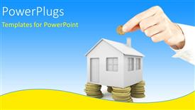 PowerPoint template displaying hand holds coin with 3D house standing on coin pillars