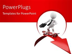 PowerPlugs: PowerPoint template with businessman skating over red arrow depicting progress concept