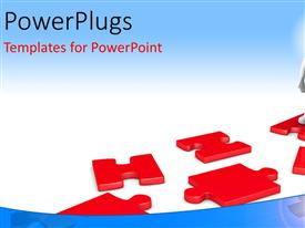 PowerPlugs: PowerPoint template with a business man standing on a red colored puzzle