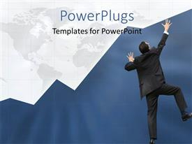 PowerPoint template displaying businessman struggling to climb blue business chart over world map