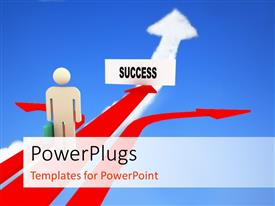 PowerPlugs: PowerPoint template with businessman on success path with other two arrows diverging