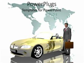 PowerPoint template displaying businessman in suit carrying briefcase next to convertible with white background