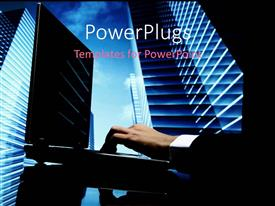 PowerPlugs: PowerPoint template with businessman working on laptop with skyscrapers