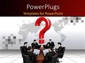 PowerPlugs: PowerPoint template with businessman's work with laptops behind a round table and world map