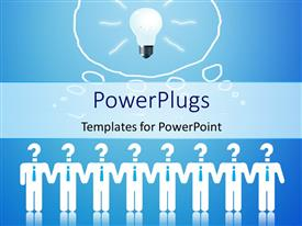 PowerPlugs: PowerPoint template with businessmen with question mark symbol as head hold hands with light bulb