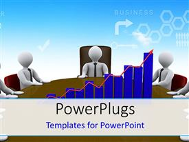 PowerPlugs: PowerPoint template with some white colored 3D characters sitting round  table and a bar chart