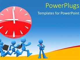 PowerPlugs: PowerPoint template with four blue colored 3D characters running with a clock over them