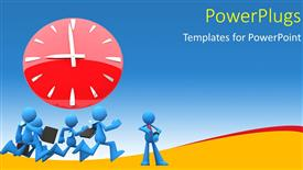 Presentation enhanced with four blue colored 3D characters running with a clock over them