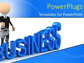 PowerPlugs: PowerPoint template with 3D business man watering 3D business with watering can