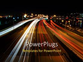 PowerPlugs: PowerPoint template with a busy road with lights in the background