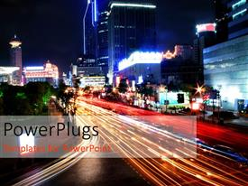 PowerPlugs: PowerPoint template with a busy road with a number of skyscrapers