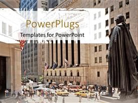 PowerPlugs: PowerPoint template with busy Wall street stock exchange with people and cars