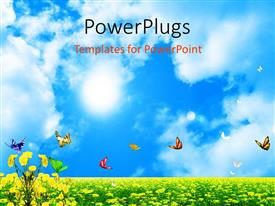 PowerPoint template displaying butterflies fluttering in field of yellow flowers under blue sky