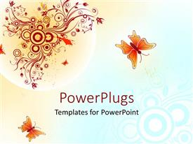 PowerPoint template displaying butterflies flying on abstract blue yellow background with red vines and circles