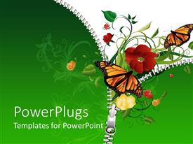PowerPlugs: PowerPoint template with butterflies flying out of opened zipper to green plants