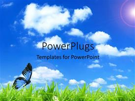 PowerPlugs: PowerPoint template with a butterfly on the grass with clouds in the background