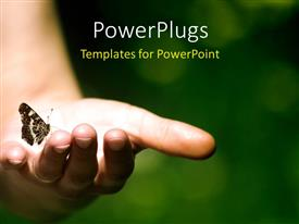 PowerPlugs: PowerPoint template with butterfly perches on human hand with bright light glow