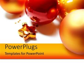 PowerPlugs: PowerPoint template with ca small golden star and lots of Christmas ornaments