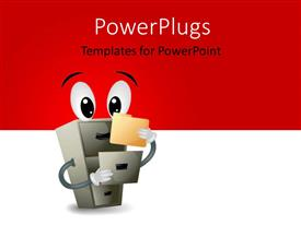 PowerPoint template displaying a cabinet with eyes and reddish background