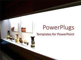 PowerPlugs: PowerPoint template with a cabinet housing some artisticlly created pottery of different shapes