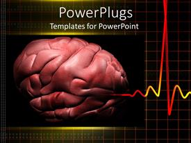 PowerPlugs: PowerPoint template with cadiogram pulse with depiction of human brain on black background