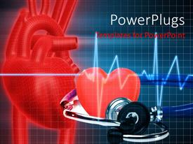 PowerPlugs: PowerPoint template with cadiogram pulse with red heart symbol and pair of gym dumb bells