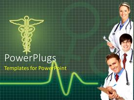 PowerPoint template displaying cadiogram pulse with three doctors and medical symbol