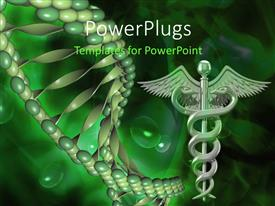 PowerPlugs: PowerPoint template with caduceus medical symbol and DNA structure over green background