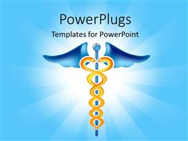 PowerPoint template displaying caduceus symbol with two snakes hanging over blue background