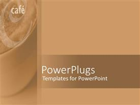 PowerPoint template displaying cafe written on a thick coffee brown background