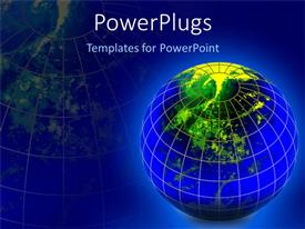 PowerPlugs: PowerPoint template with caged glowing globe seen from top on blue background