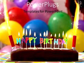 PowerPlugs: PowerPoint template with a cake with a lot of balloons in the background