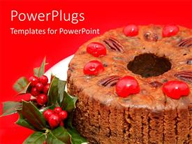 PowerPoint template displaying a cake with a number of berries and reddish background