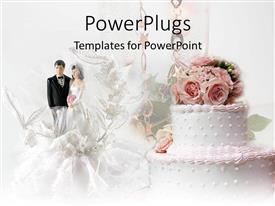 PowerPlugs: PowerPoint template with with cake with pink flowers and married couple figure