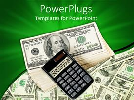 PowerPlugs: PowerPoint template with a calculator on a bundle on dollar notes