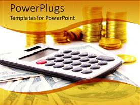PowerPlugs: PowerPoint template with calculator on dollar notes with stacks of gold coins