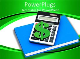 PowerPlugs: PowerPoint template with a calculator with a dollar sign and book beneath it
