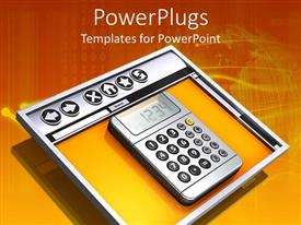 PowerPlugs: PowerPoint template with a calculator with globe and binary numbers in the background