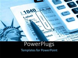 PowerPlugs: PowerPoint template with calculator and pen over tax document with statue of liberty in background