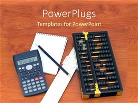 PowerPlugs: PowerPoint template with calculator, pencil and a white note pad on a table