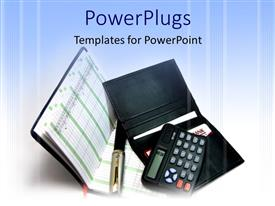 PowerPlugs: PowerPoint template with a calculator with two files and bluish background