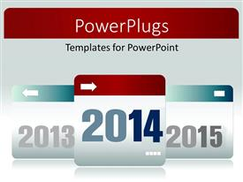 PowerPoint template displaying calendar tag of previous year 2013, present 2014 and next year 2015