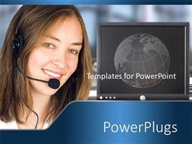PowerPlugs: PowerPoint template with a call center girl with a screen in the background