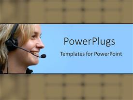 PowerPlugs: PowerPoint template with a call center girl smiling with bluish background