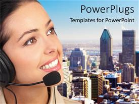 PowerPlugs: PowerPoint template with a call operator taking a call with skyscrapers in the background