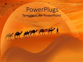 PowerPoint template displaying camels and desert merchants travelling through desert sand dunes